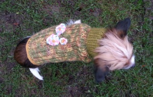 "Fast vår granne Camilla E stickade en tröja som skulle vara: Lite tuff som Vilja, kanske camo, men lite tjejig kanske""."