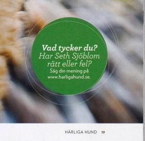Länk till nätdebatten på tidningen Härliga Hund - om halsband eller sele.