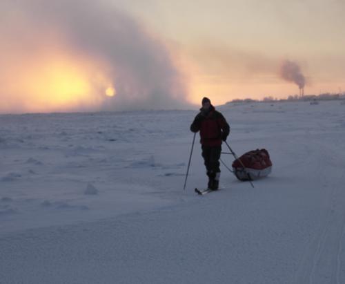 Foto tillhör äventyraren Johan Ivarsson: Första dagen på vinterturen med en temperatur på ca 30 - Celisius
